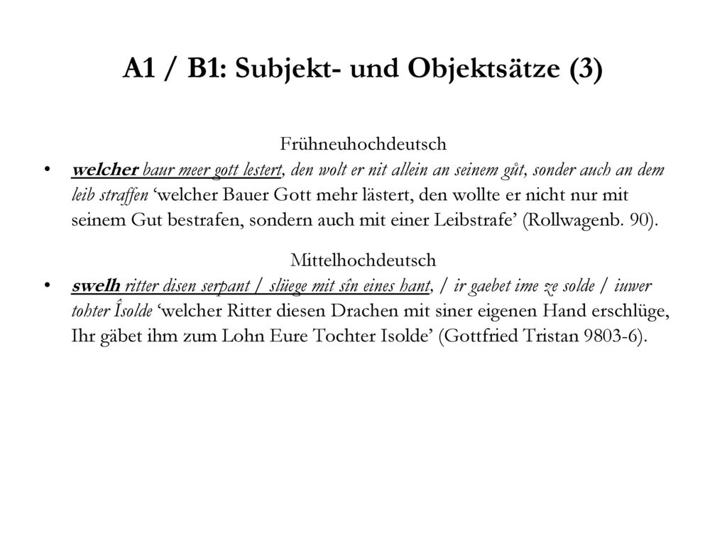 A1 / B1: Subjekt- und Objektsätze (3)