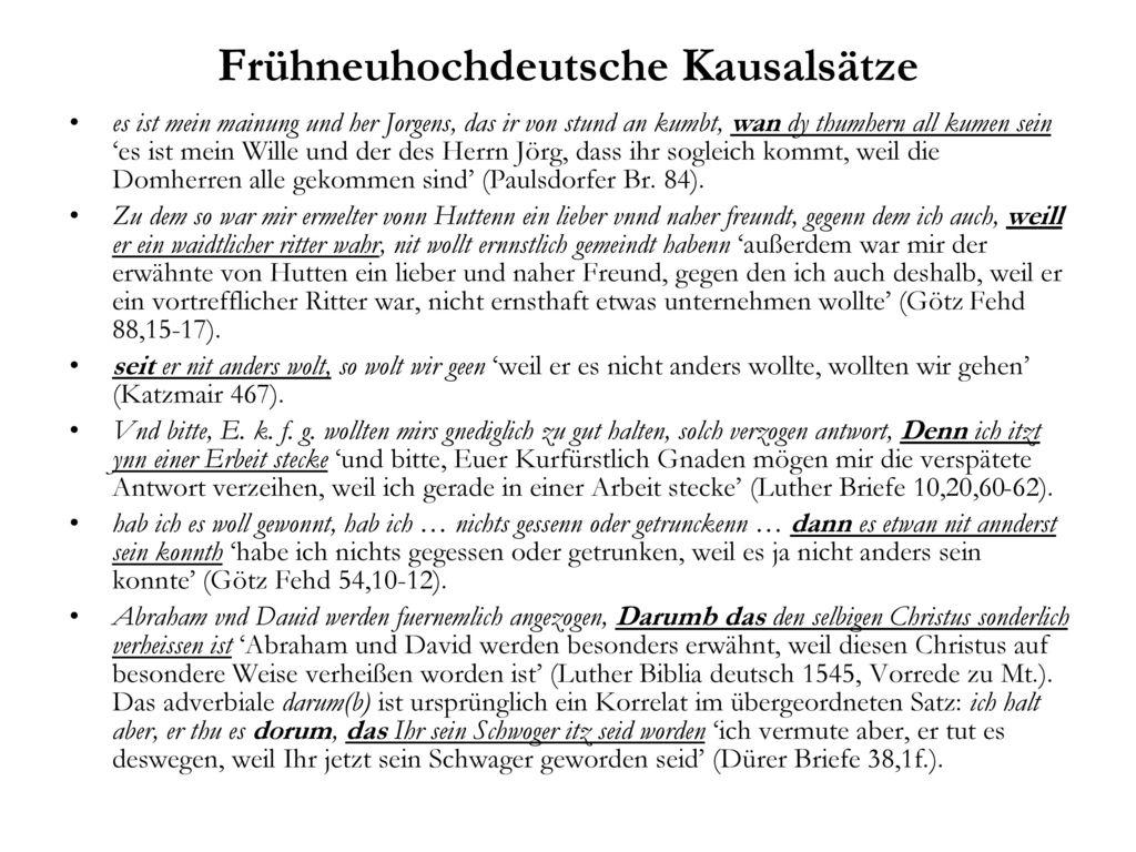 Frühneuhochdeutsche Kausalsätze