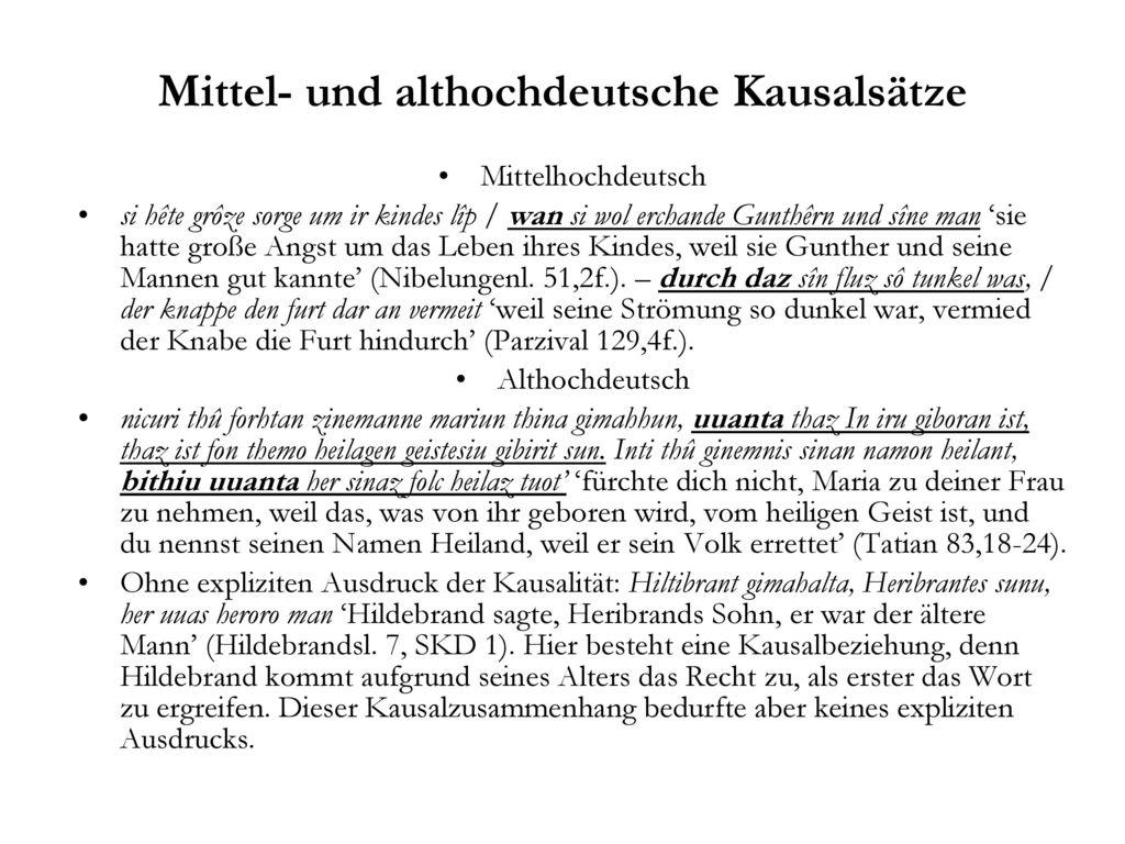 Mittel- und althochdeutsche Kausalsätze