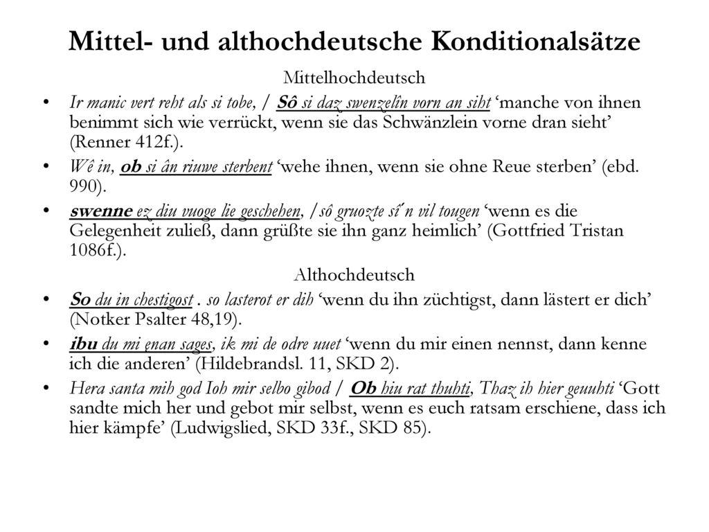 Mittel- und althochdeutsche Konditionalsätze