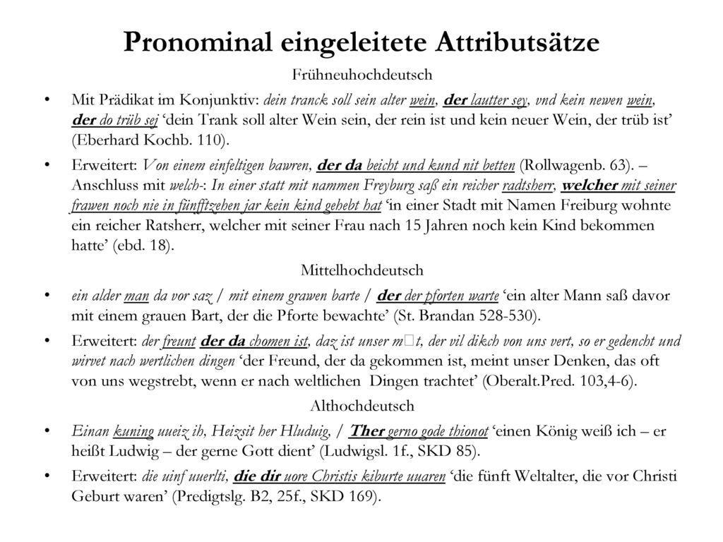 Pronominal eingeleitete Attributsätze