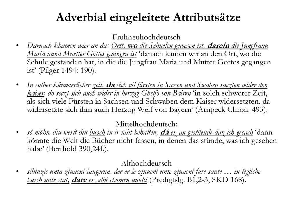 Adverbial eingeleitete Attributsätze
