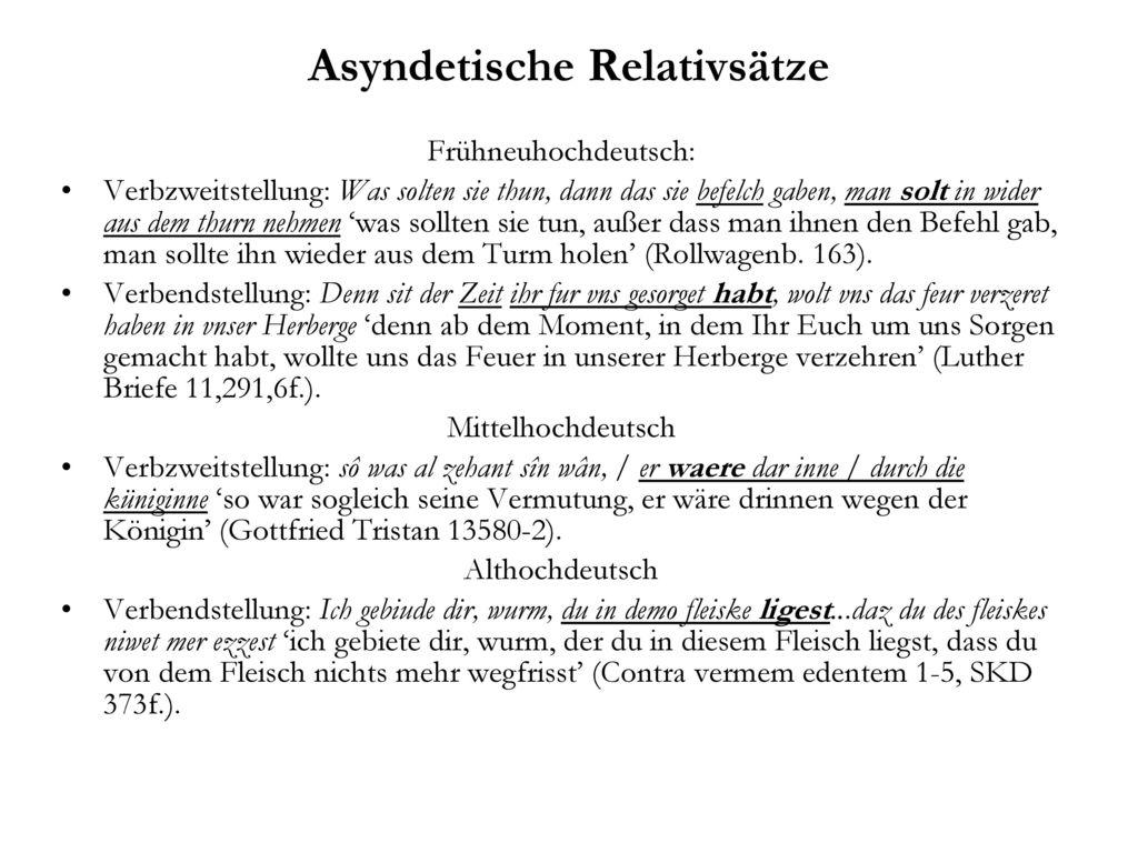 Asyndetische Relativsätze