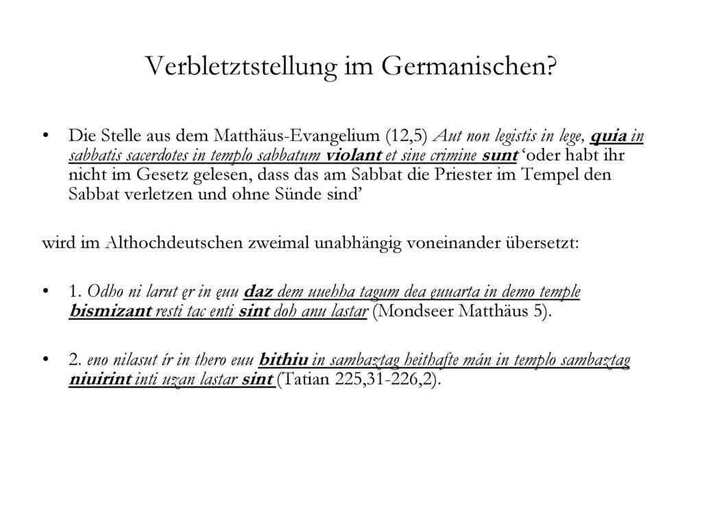 Verbletztstellung im Germanischen