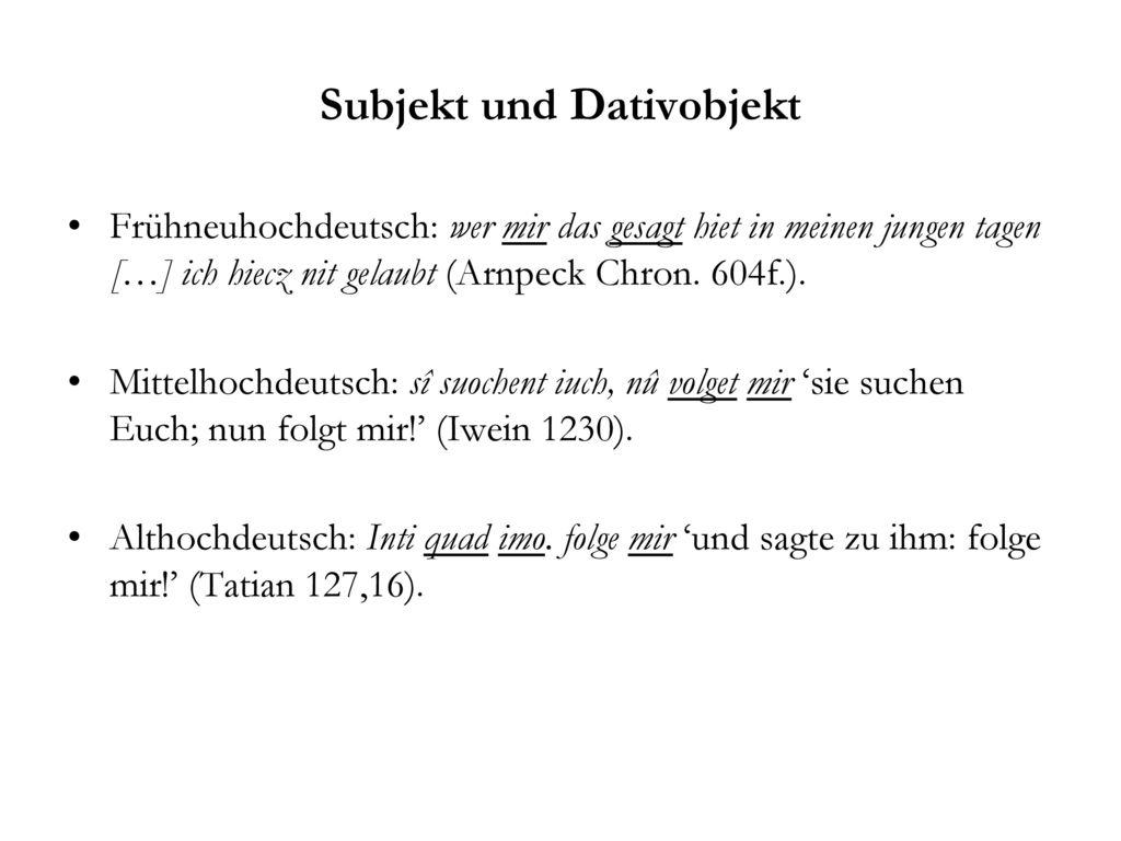 Subjekt und Dativobjekt