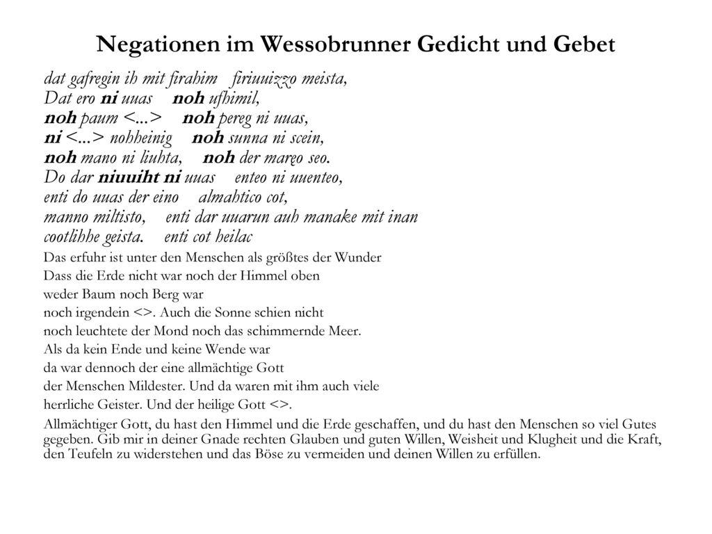 Negationen im Wessobrunner Gedicht und Gebet