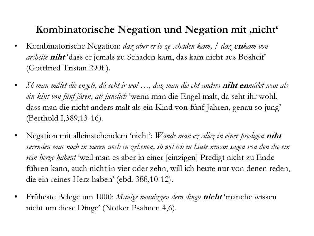 Kombinatorische Negation und Negation mit 'nicht'