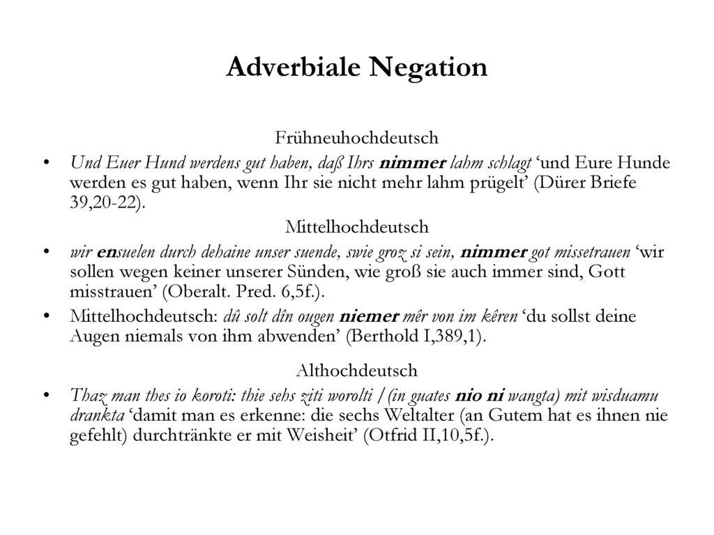 Adverbiale Negation Frühneuhochdeutsch