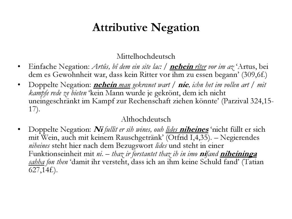 Attributive Negation Mittelhochdeutsch