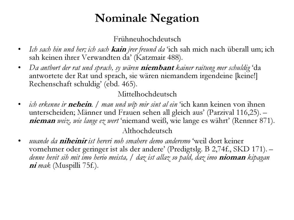 Nominale Negation Frühneuhochdeutsch