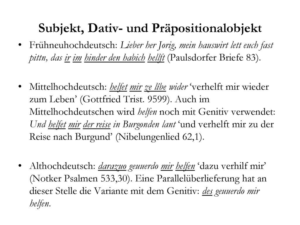 Subjekt, Dativ- und Präpositionalobjekt