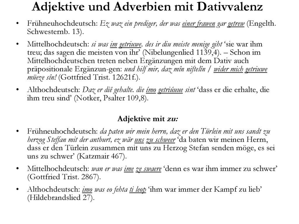 Adjektive und Adverbien mit Dativvalenz
