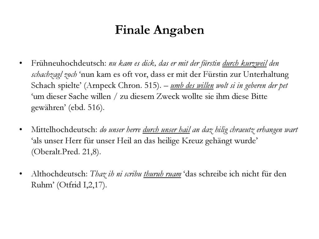 Finale Angaben