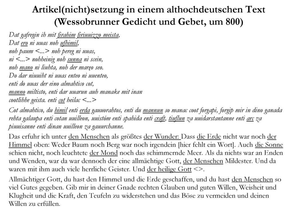 Artikel(nicht)setzung in einem althochdeutschen Text (Wessobrunner Gedicht und Gebet, um 800)
