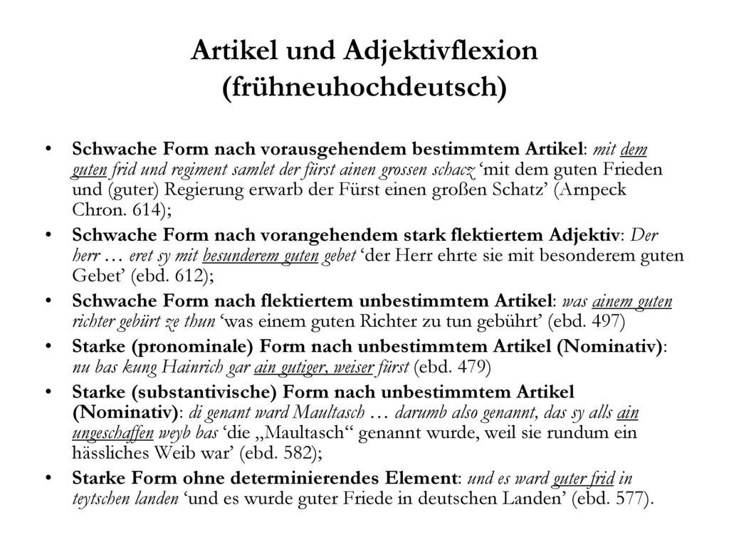 Artikel und Adjektivflexion (frühneuhochdeutsch)