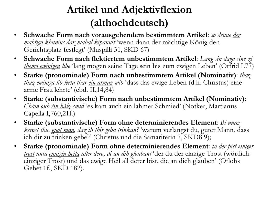Artikel und Adjektivflexion (althochdeutsch)