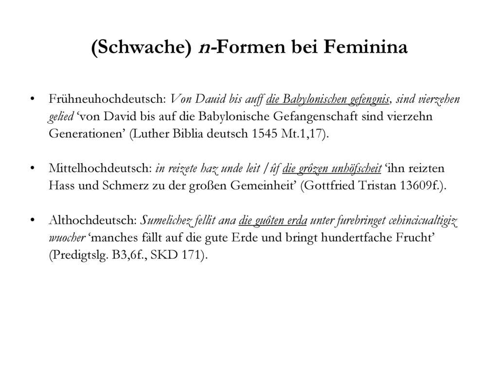 (Schwache) n-Formen bei Feminina