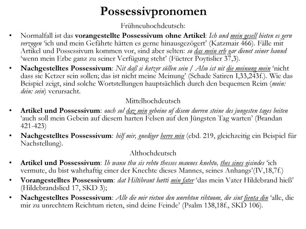 Possessivpronomen Frühneuhochdeutsch: