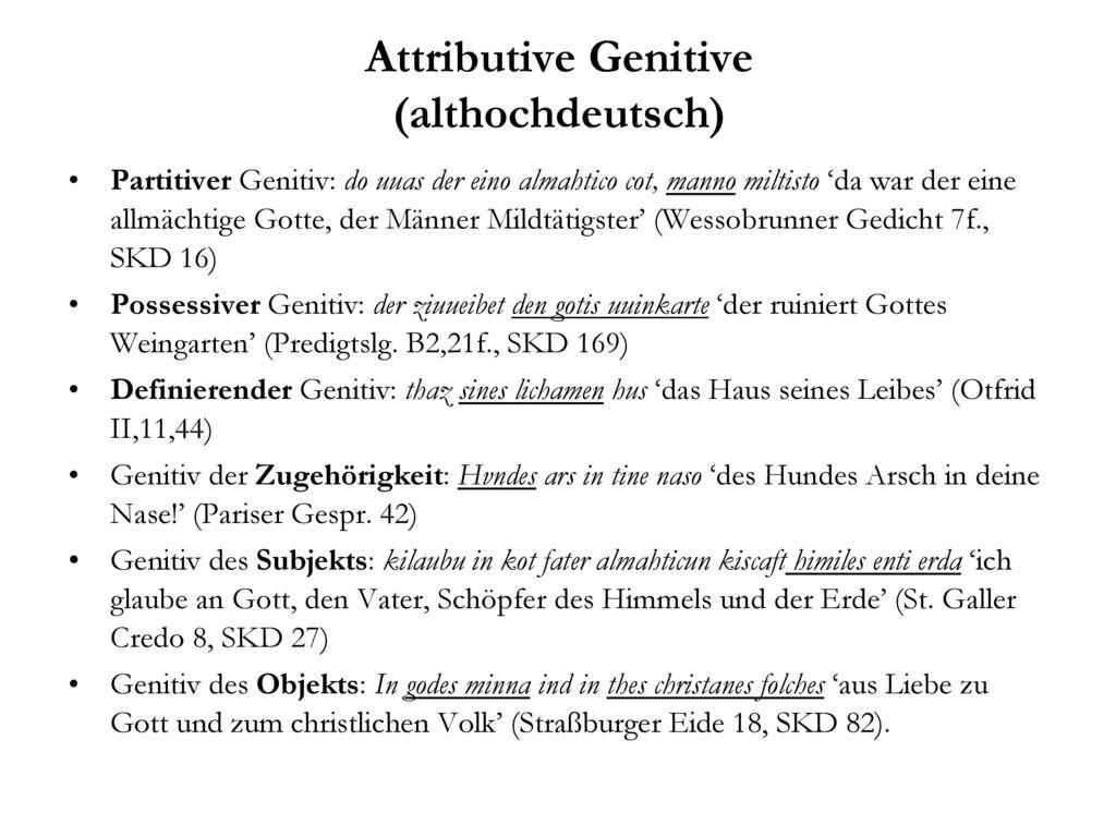 Attributive Genitive (althochdeutsch)