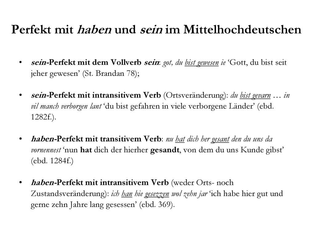 Perfekt mit haben und sein im Mittelhochdeutschen