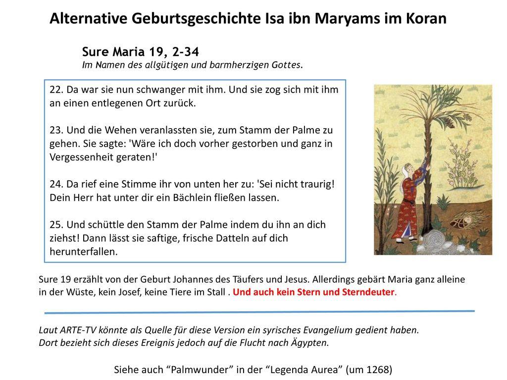 Alternative Geburtsgeschichte Isa ibn Maryams im Koran