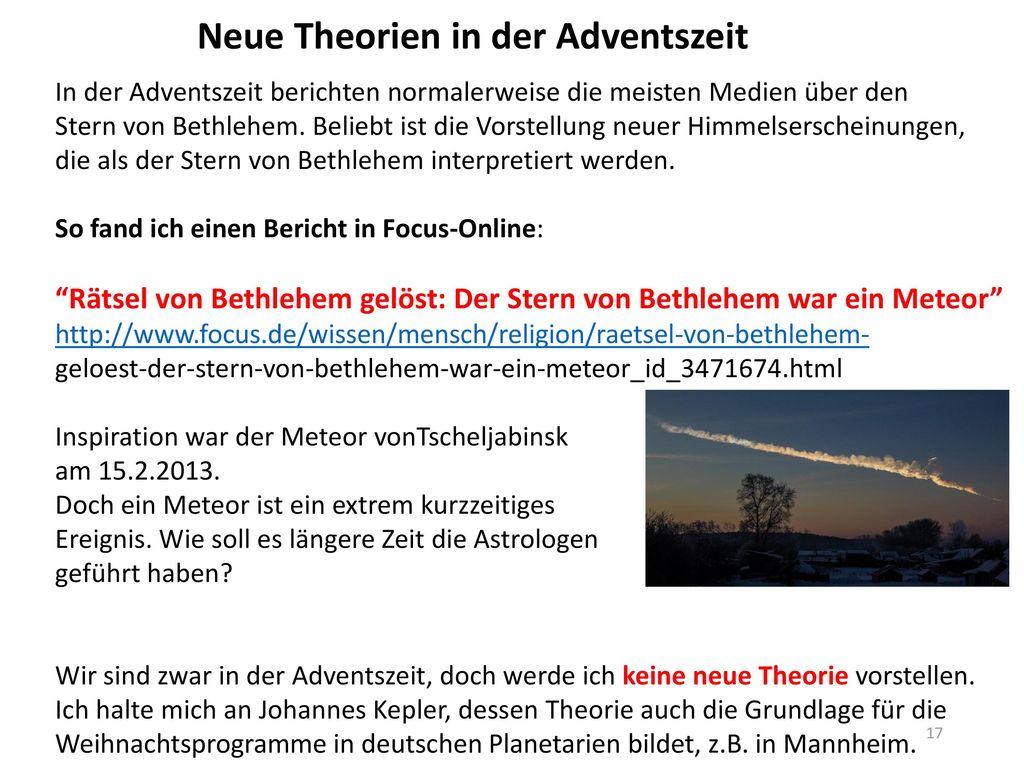 Neue Theorien in der Adventszeit