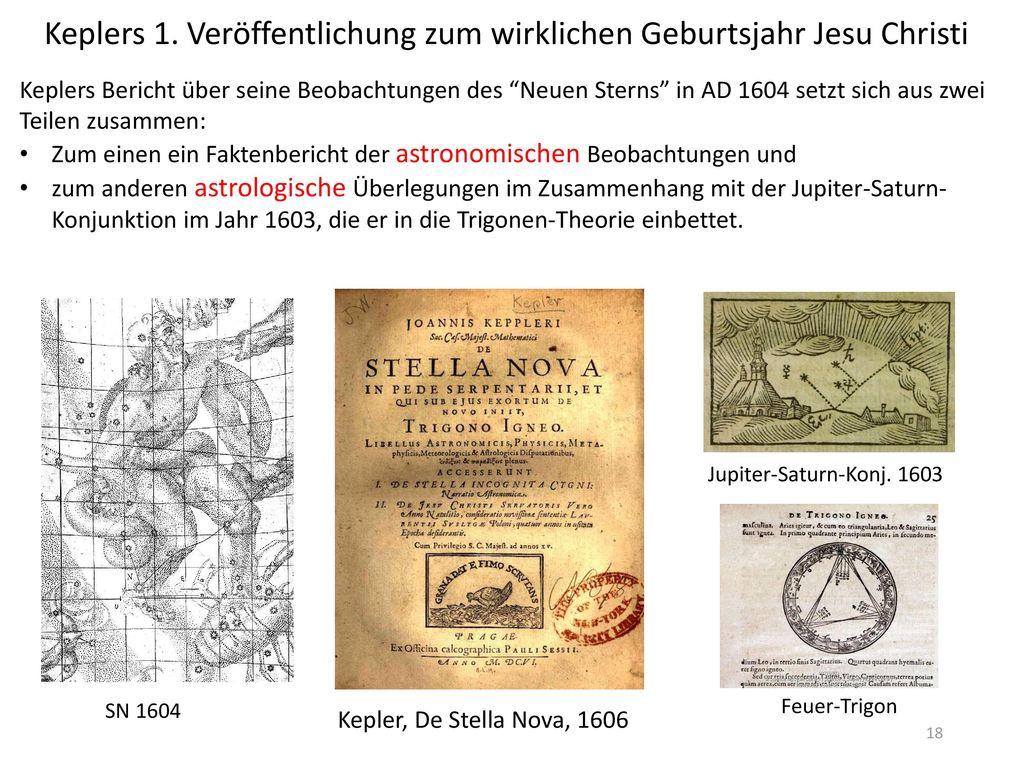Keplers 1. Veröffentlichung zum wirklichen Geburtsjahr Jesu Christi