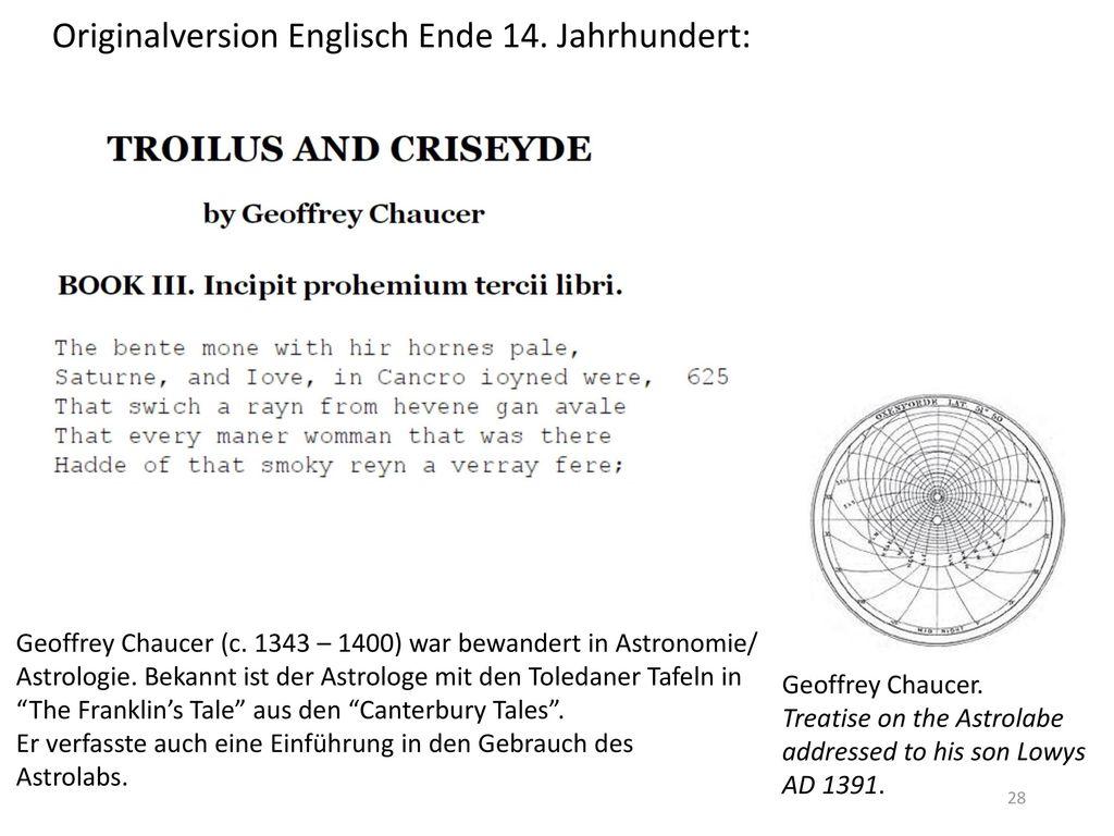 Originalversion Englisch Ende 14. Jahrhundert: