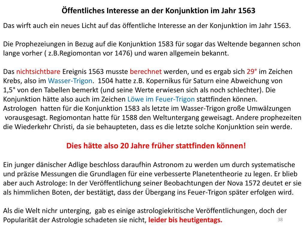 Öffentliches Interesse an der Konjunktion im Jahr 1563