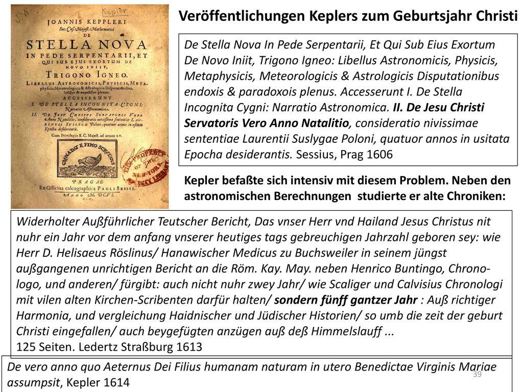 Veröffentlichungen Keplers zum Geburtsjahr Christi