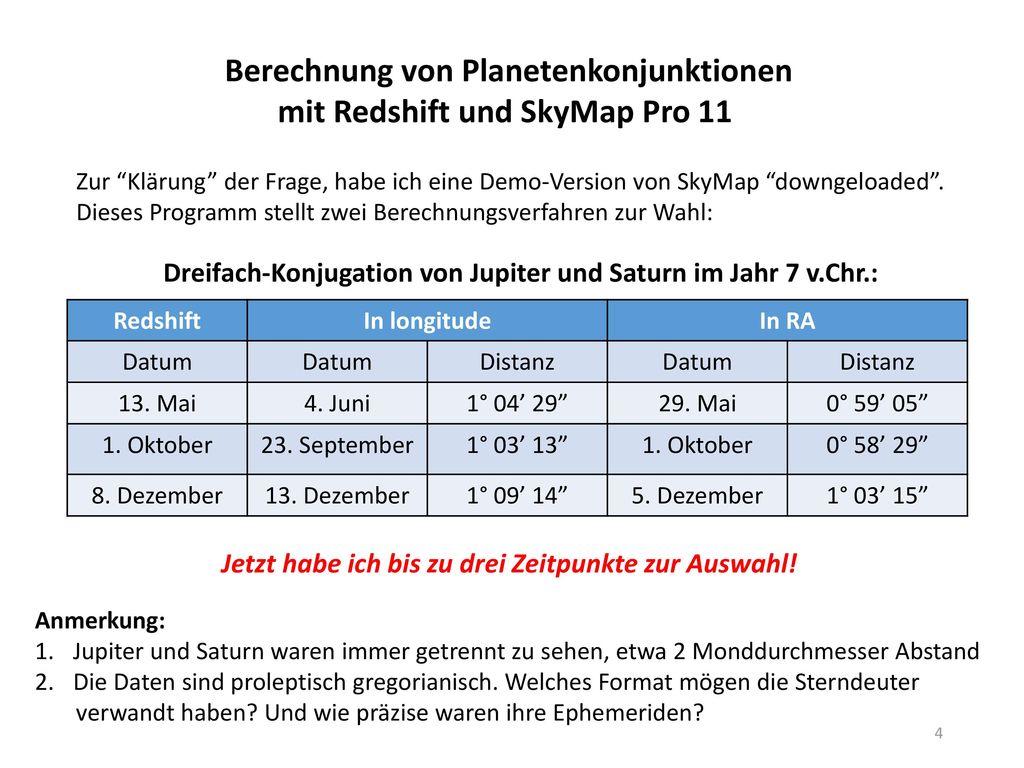 Berechnung von Planetenkonjunktionen mit Redshift und SkyMap Pro 11