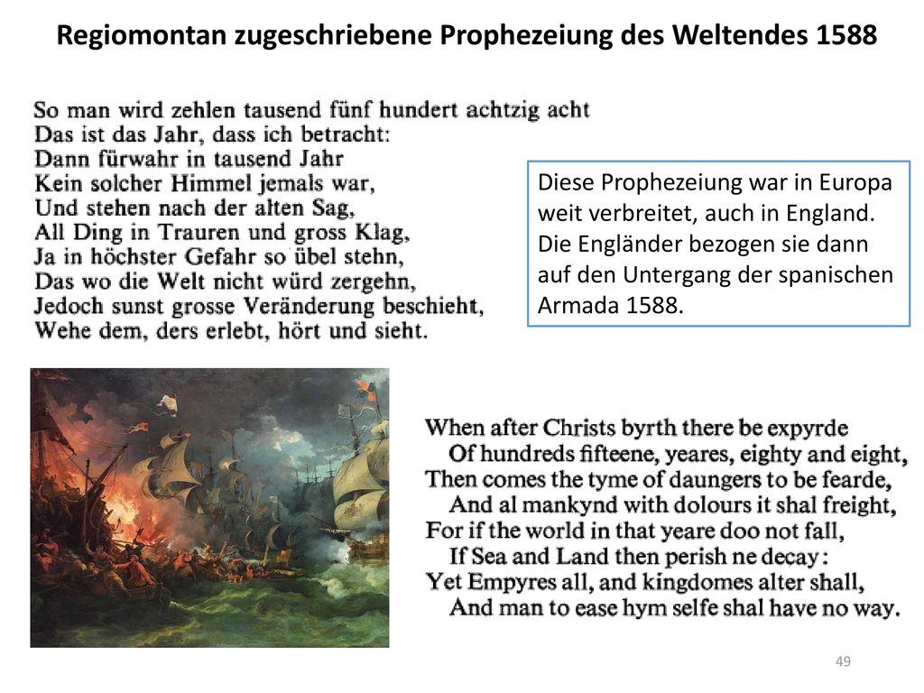 Regiomontan zugeschriebene Prophezeiung des Weltendes 1588