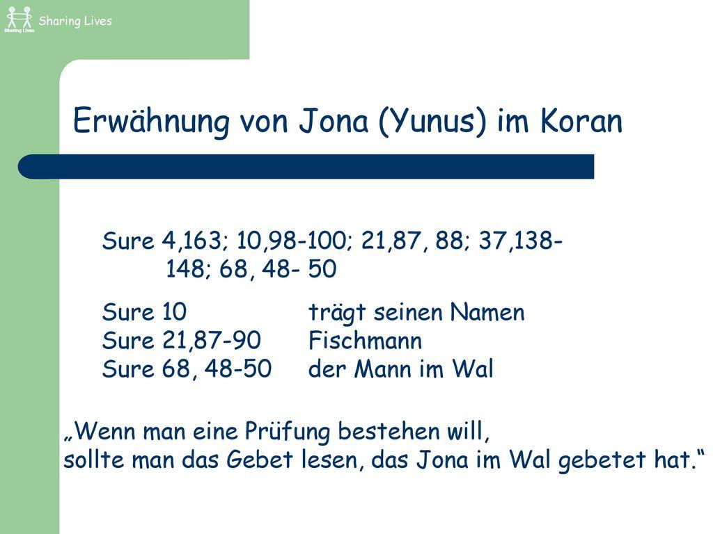 Erwähnung von Jona (Yunus) im Koran
