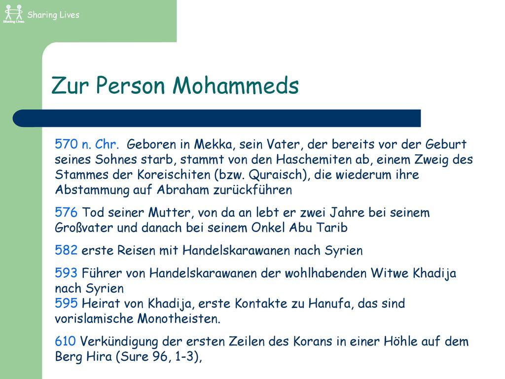 Sharing Lives Zur Person Mohammeds.