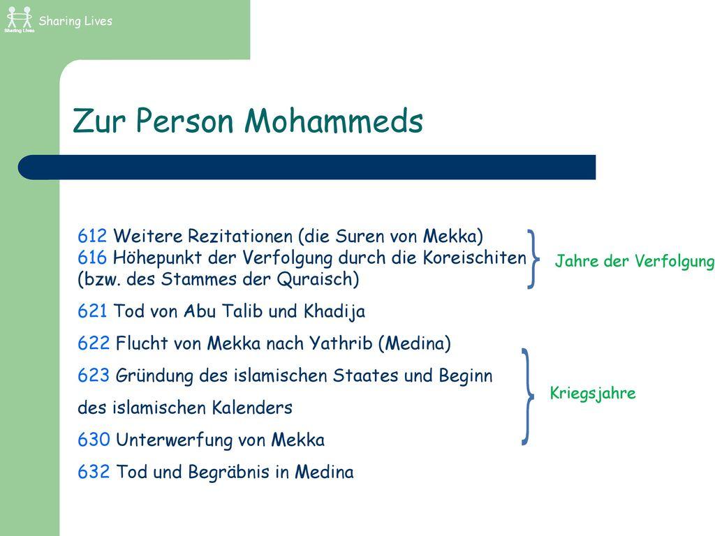 Zur Person Mohammeds 612 Weitere Rezitationen (die Suren von Mekka)