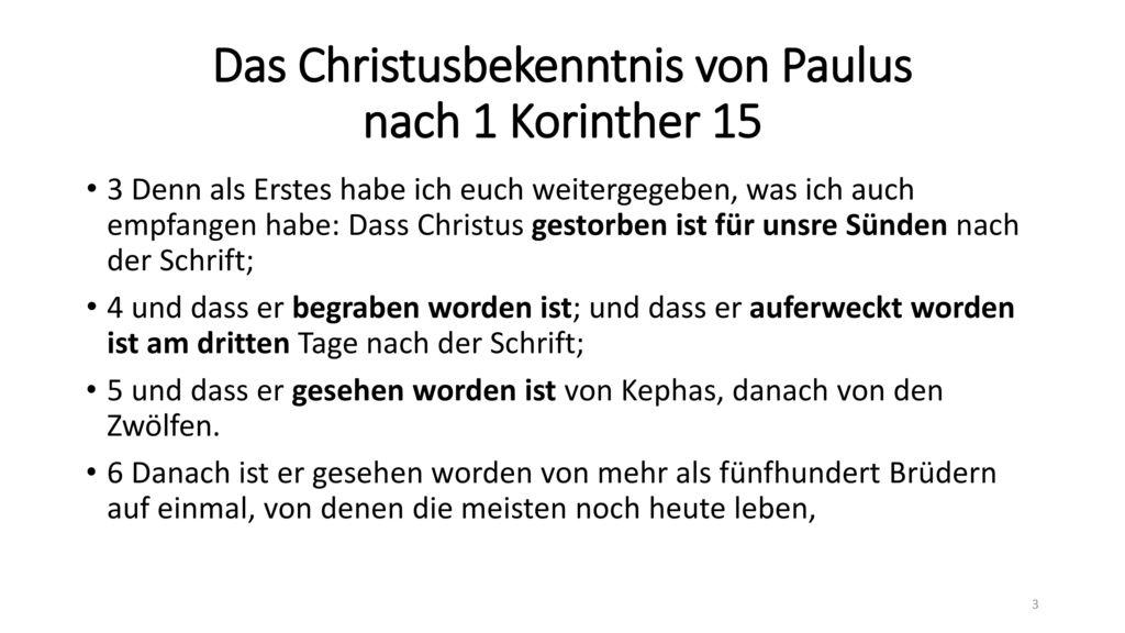 Das Christusbekenntnis von Paulus nach 1 Korinther 15