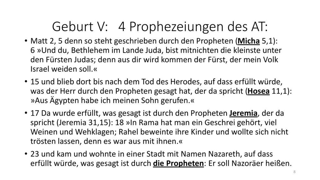 Geburt V: 4 Prophezeiungen des AT:
