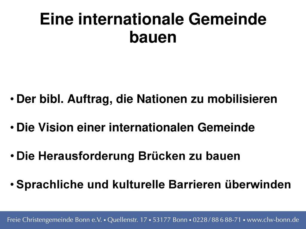 Eine internationale Gemeinde bauen
