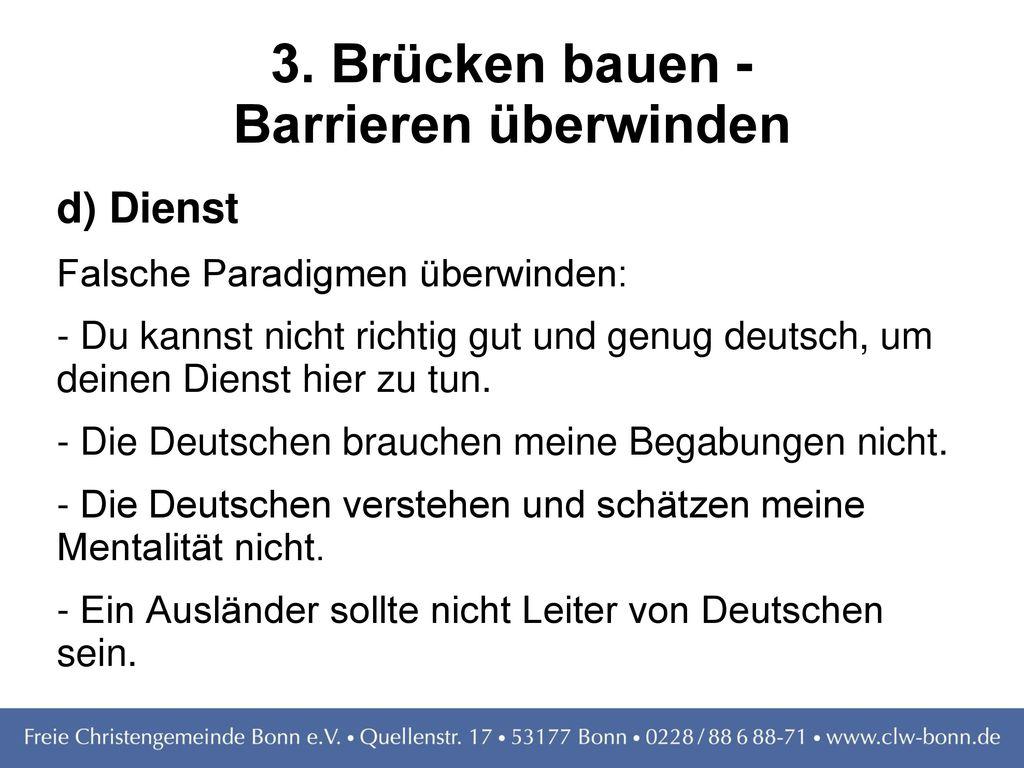 3. Brücken bauen - Barrieren überwinden