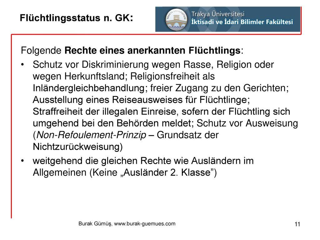Flüchtlingsstatus n. GK: