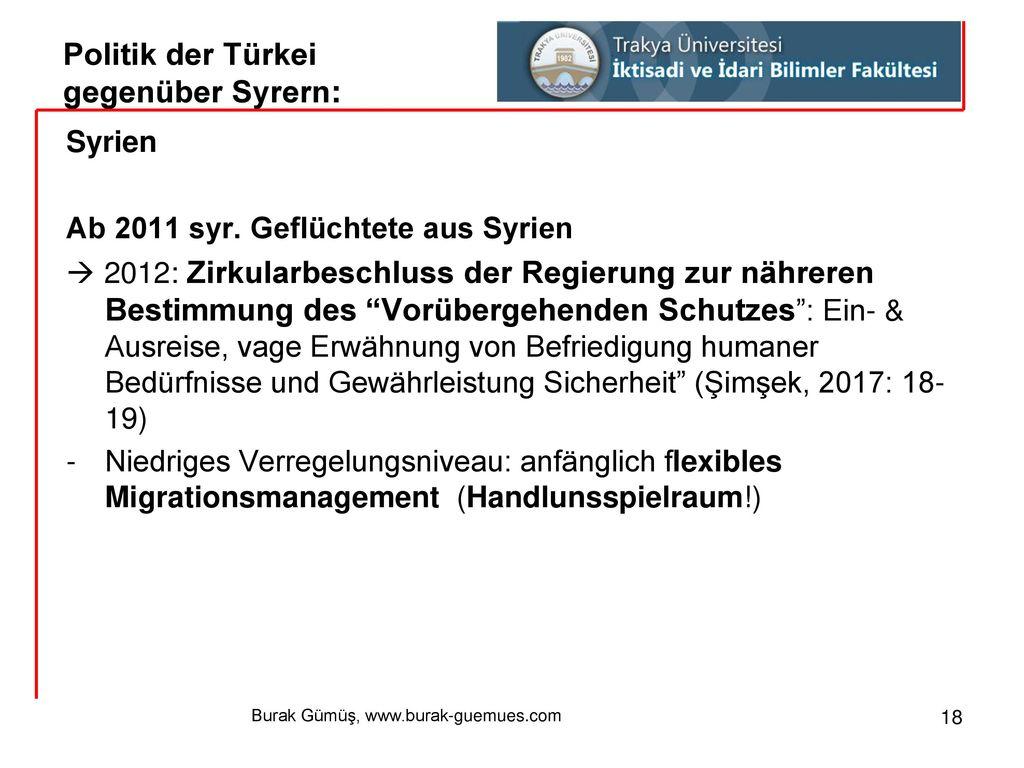 Politik der Türkei gegenüber Syrern: