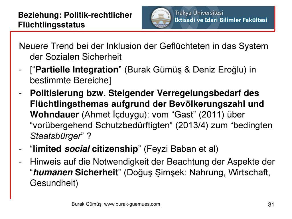 Beziehung: Politik-rechtlicher Flüchtlingsstatus