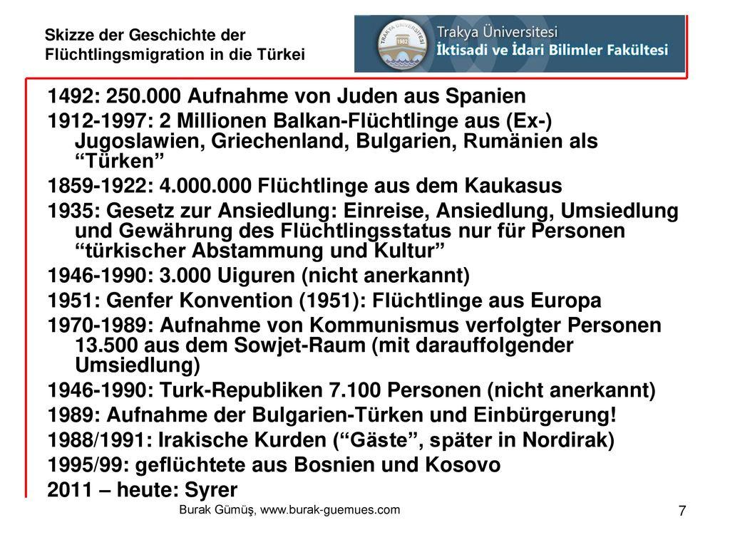 Skizze der Geschichte der Flüchtlingsmigration in die Türkei