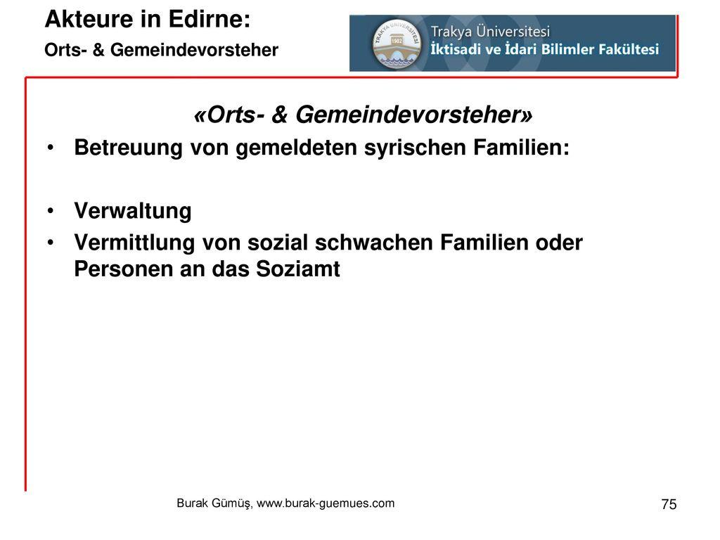 Akteure in Edirne: Orts- & Gemeindevorsteher
