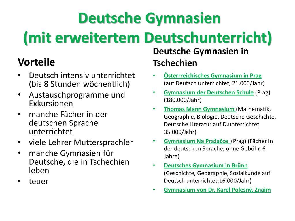 Deutsche Gymnasien (mit erweitertem Deutschunterricht)