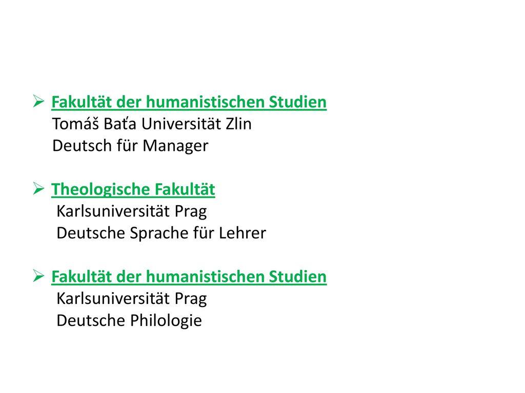 Fakultät der humanistischen Studien
