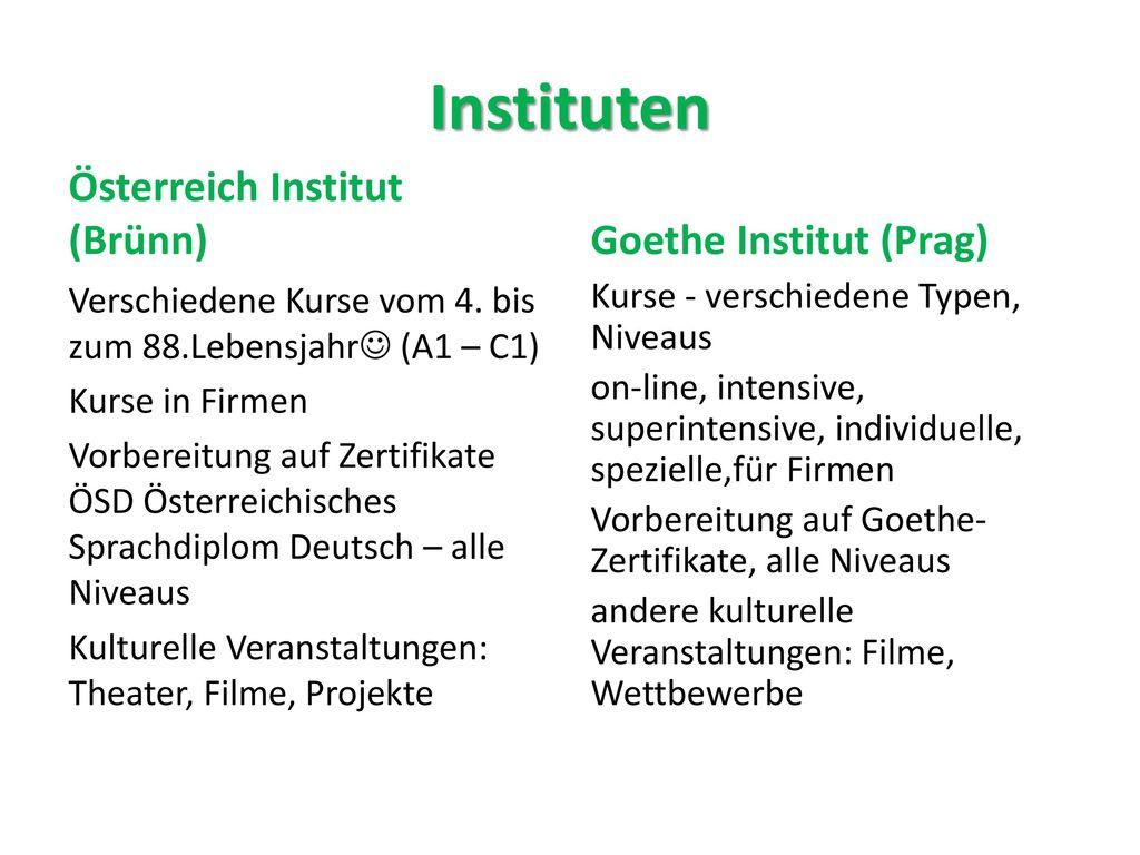 Instituten Österreich Institut (Brünn) Goethe Institut (Prag)