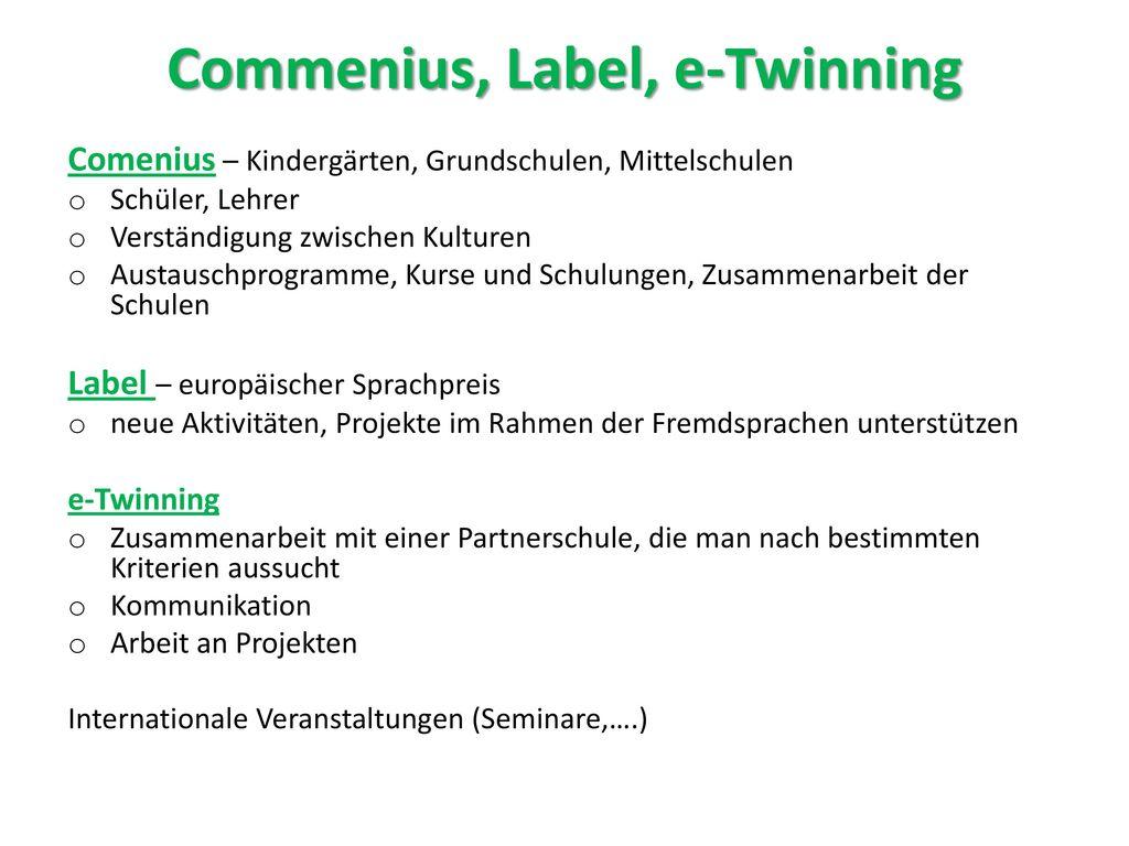 Commenius, Label, e-Twinning