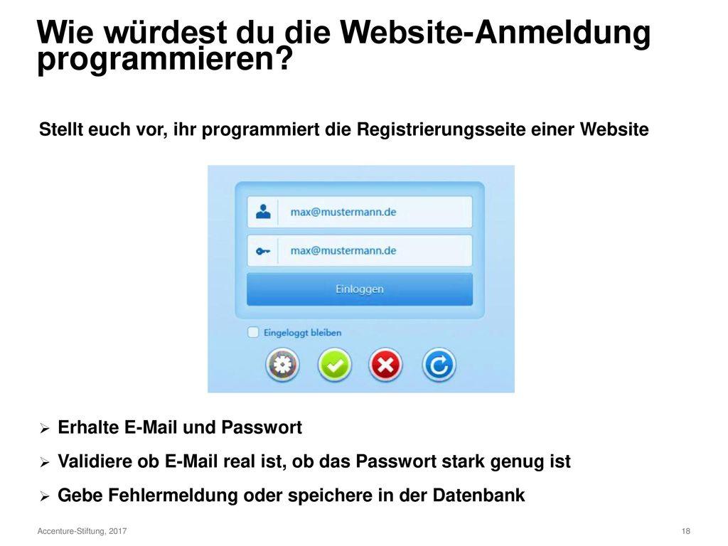 Wie würdest du die Website-Anmeldung programmieren