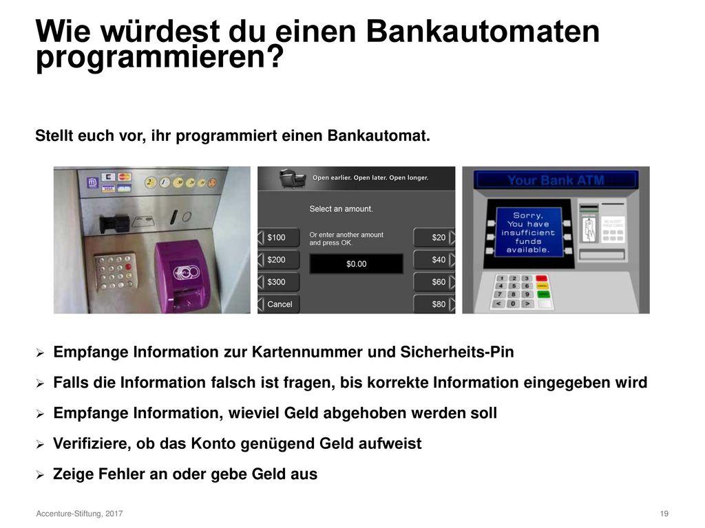Wie würdest du einen Bankautomaten programmieren
